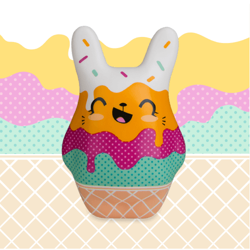 Soft'n Slo Squishies™ Designerz Begg is a bunny squishy with an ice cream pattern.