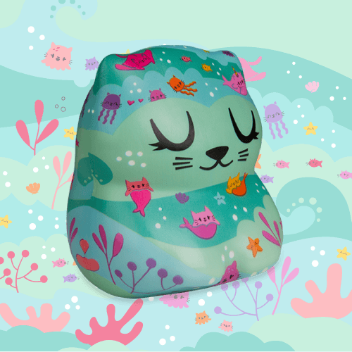 Soft'n Slo Squishies™ Designerz Meowp is a cat with a mermaid pattern.