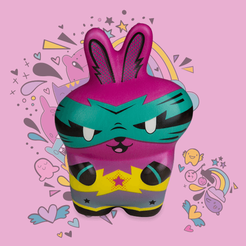 Soft'n Slo Squishies™ Designerz Super Bunny is a heroic bunny squishy.