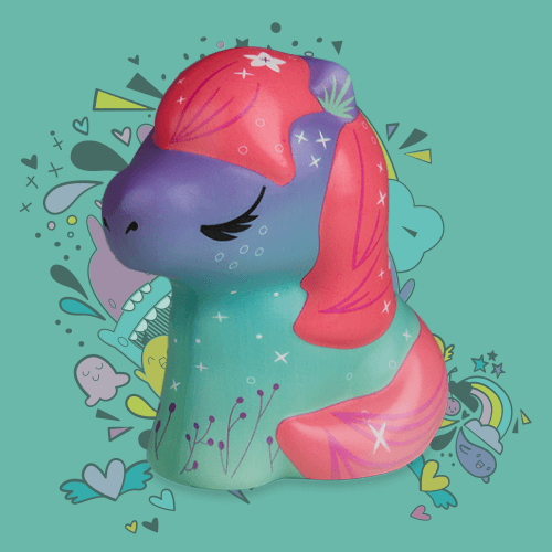 Soft'n Slo Squishies™ Designerz Pony is a horse squishy with a cute pattern.